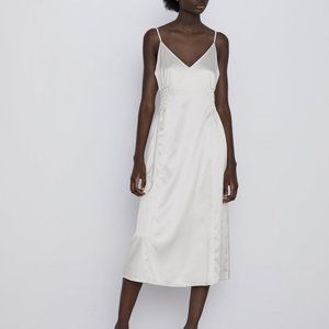 Zara Satin Midi Slip Dress w/ Elastic Waistband L